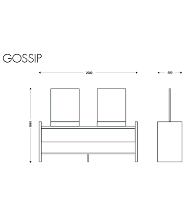 Coiffeuse centrale GOSSIP dimensions