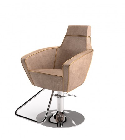 High quality pivoting hair salon styling chair with hydraulic jack. Italian design, made in Italy.